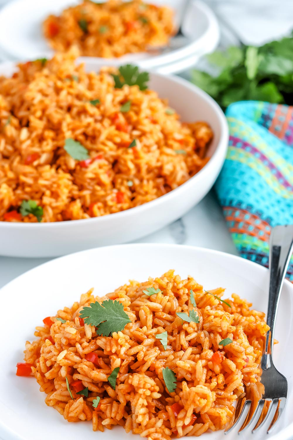 The finished Mexican Rice recipe on a white plate.