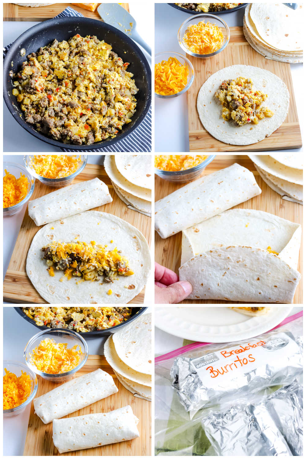 A picture collage of how to make this Breakfast Burrito recipe.