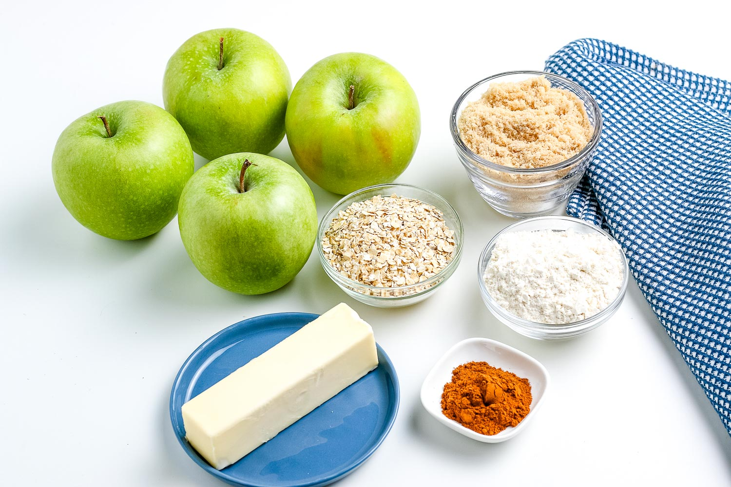 All of the ingredients needed to make this apple crisp recipe.