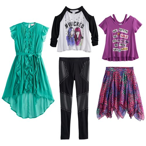 A brand new line of Disney Descendants 2 clothing for girls is now available in a variety of styles and sizes. Shoes are also included.