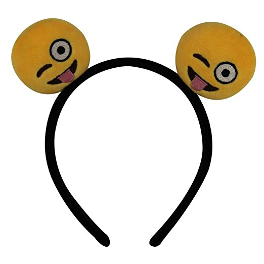 For fun or for Halloween, this emoji headband for girls is something fun to wear.