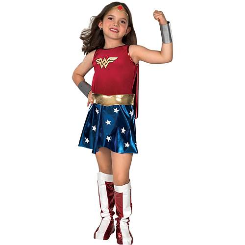 This Wonder Woman costume for girls comes in different sizes/