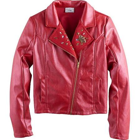 This faux leather coat in red is one of the new jackets from the DIsney Descendants clothing line.