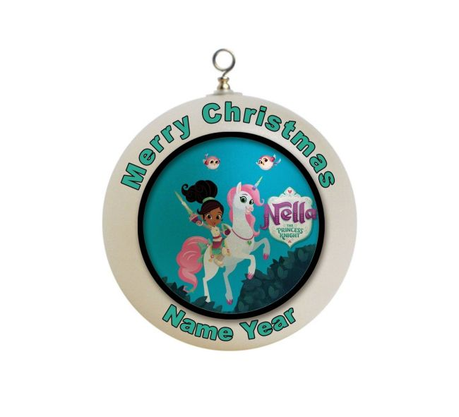 This Nella the Princess Knight Christmas Ornament can be personalized with the year your child's name