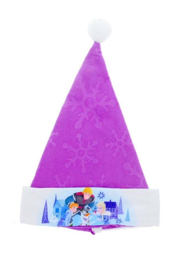 Olaf's Frozen Adventure Santa hat has a purple top with a snowflake design