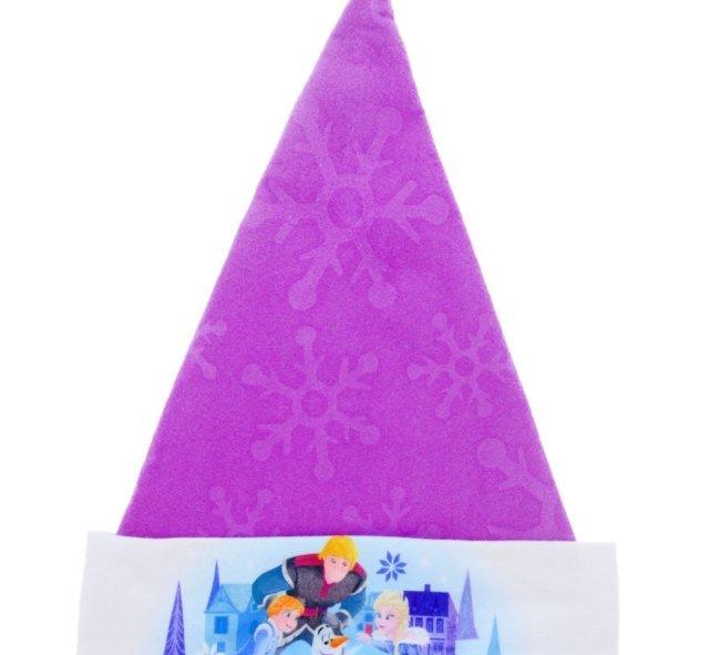 Olaf's Frozen Adventure Santa hat has a purple top with a snowflake design