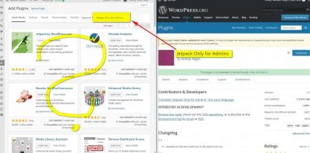 WordPress Add New plugin search screen