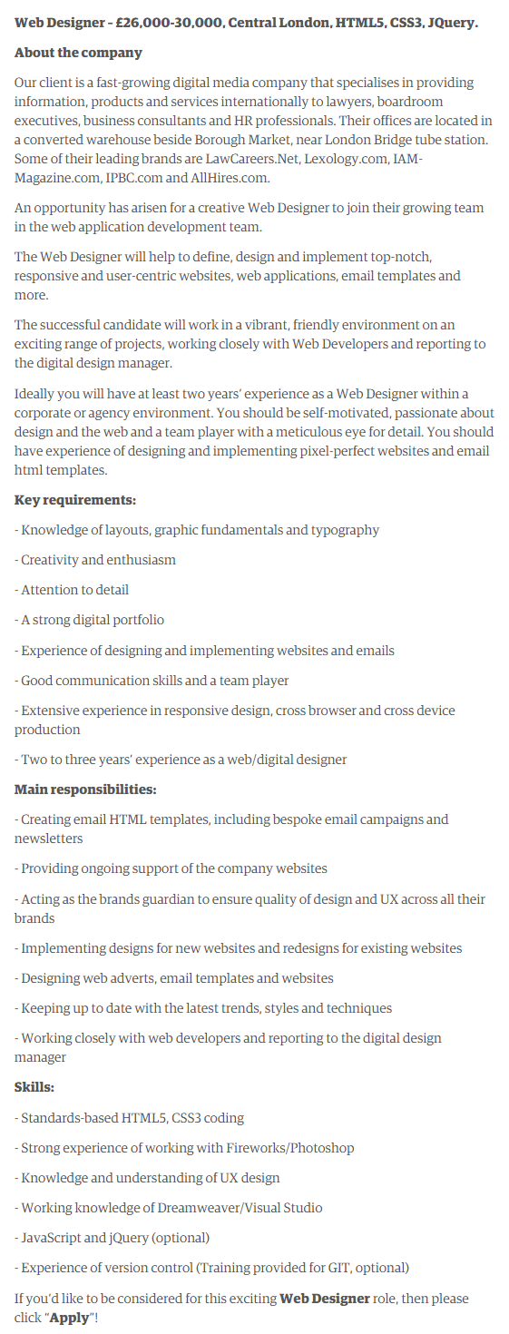 360 Solutions Web Designer Job Description