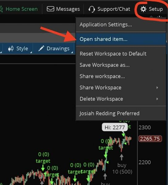 install thinkorswim indicators by copying sharing links step 1