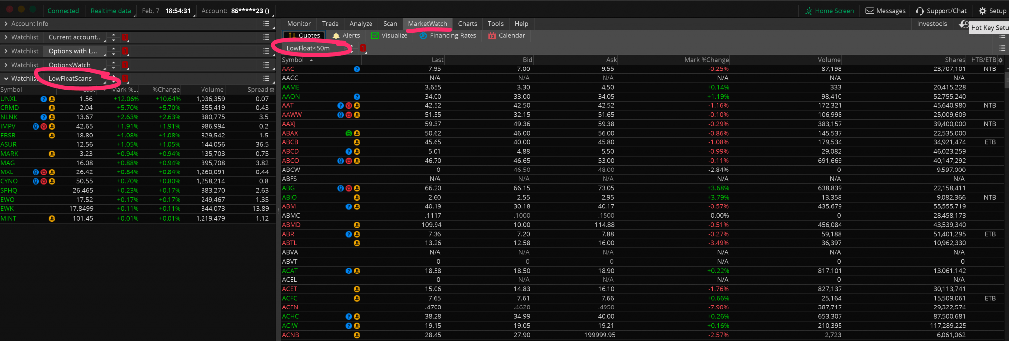 Low Float Stock Scan Lists for ThinkOrSwim