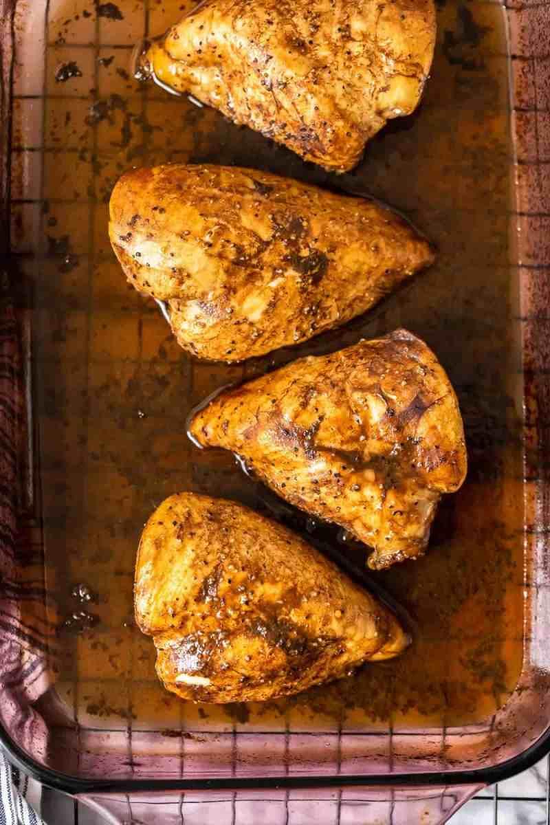 Marinated Baked Lemon Pepper Chicken overhead in baking dish