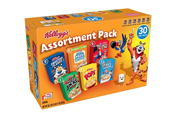 Amazon: Kellogg's Breakfast Cereal, Assortment Pack, Frosted Flakes, Frosted Mini-Wheats, Froot Loops, Apple Jacks, Corn Pops, and Rice Krispies, 32.7 oz Tray (30 Count) – $6.99