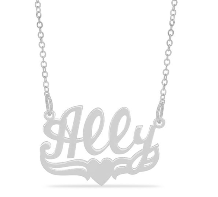 Zale's: Personalized Script Name with Heart Necklace in Sterling Silver (1 Line) – $19.99