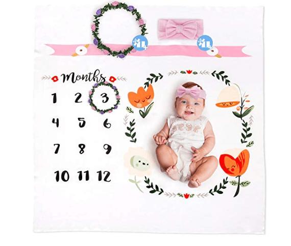 Amazon: Baby Monthly Milestone Blanket by Brule Gifts | Bonus Headband & Floral Wreath Frame – $5.95