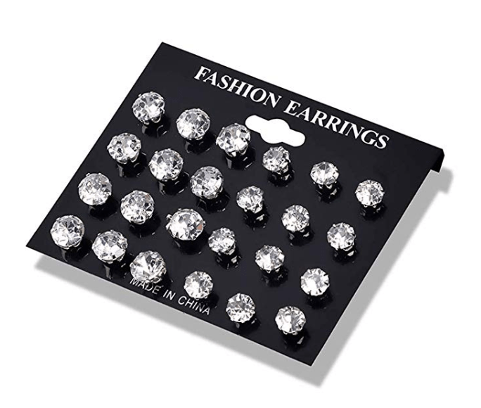 Amazon: Dolland 12 Pairs Crystal Zircon Earrings Set Simple Mini Stud Earrings Romantic Jewelry for Women,White – $2.63