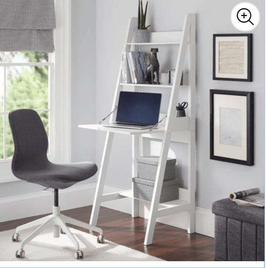 Walmart: Mainstays Contemporary 3 Shelf Ladder Desk, White Finish – $15