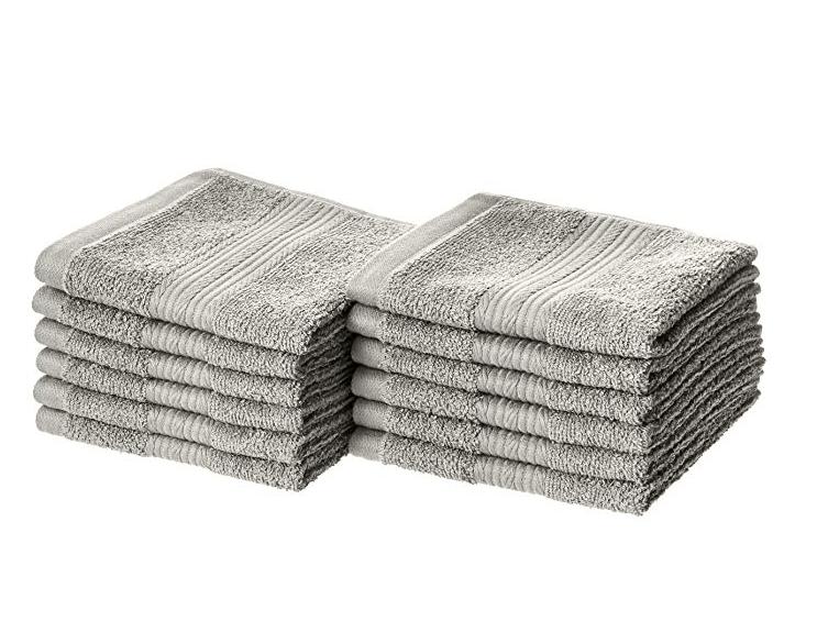 Amazon: AmazonBasics Fade-Resistant Cotton Washcloths – Pack of 12, Grey – $7.14