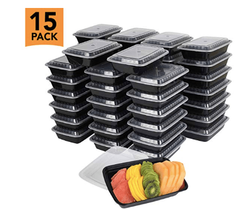 AMAZON: 15-Pack Meal Prep Plastic Microwavable Food Containers – $7.99