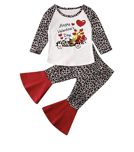 Amazon: Toddler Newborn Baby Girl Cotton Love Print Clothes – $11.99