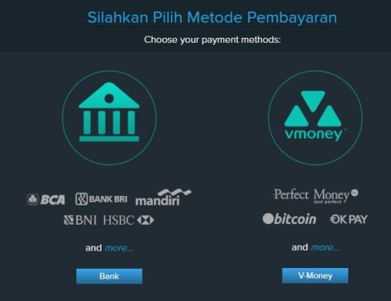 Pilih metode pembayaran yang ingin anda gunakan