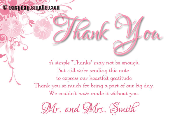 Wedding Thank You Card Wording Samples | Infocard.Co