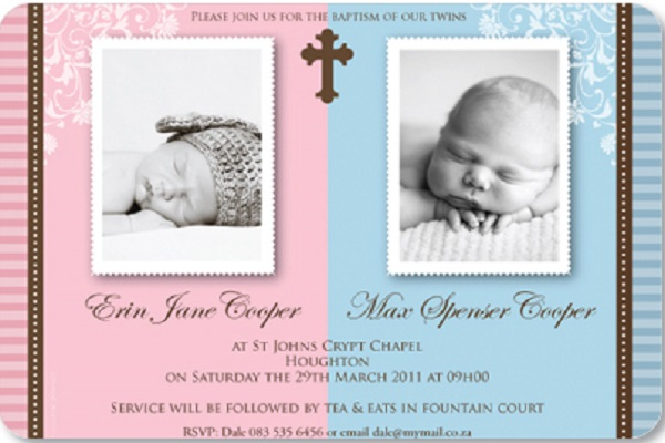 Double Baptism Invitations