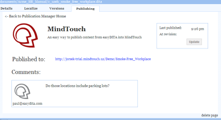 MindTouch comments in easyDITA
