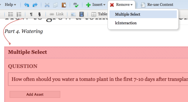 To delete a question, click inside it and then select it from the Remove drop-down menu.
