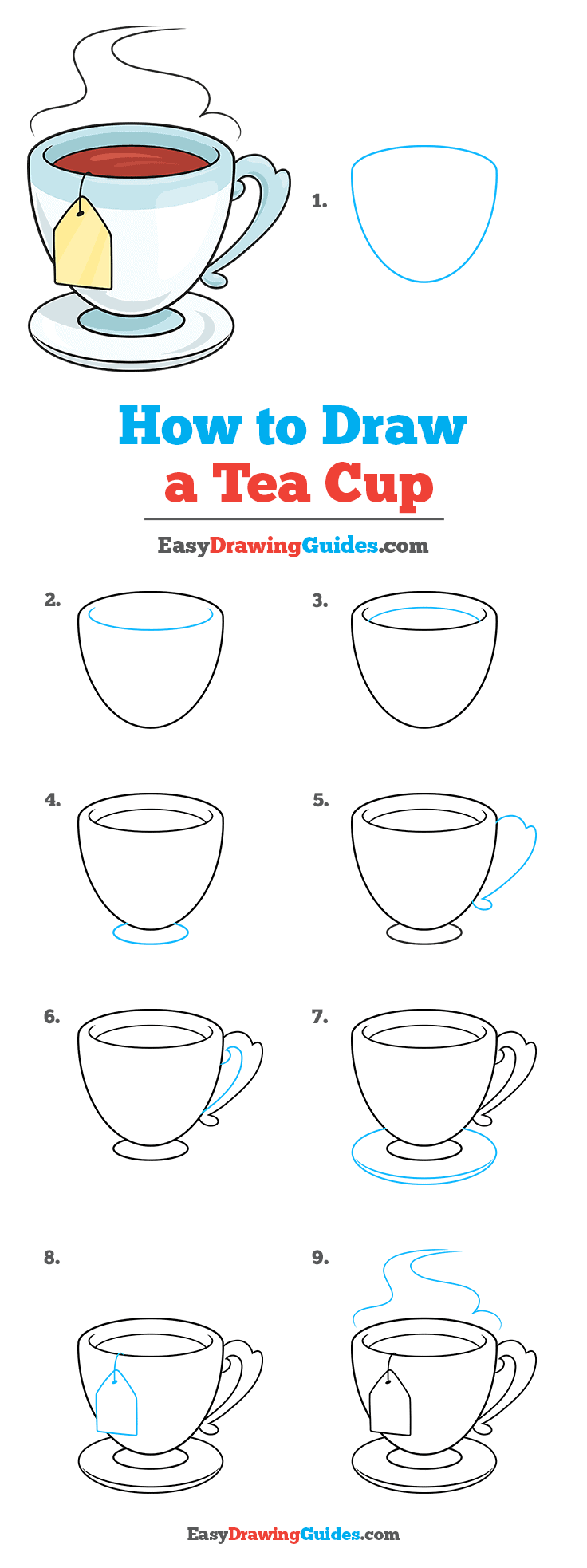 How To Draw A Tea Cup Really Easy Drawing Tutorial
