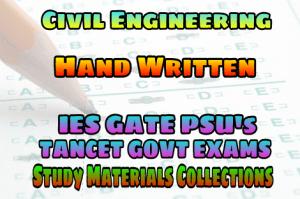 HAND WRITTEN GATE IES TANCET PSU EXAMS STUDY MATERIALS