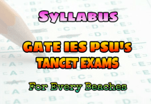 GATE TANCET IES AND PSU's EXAMS SYLLABUS
