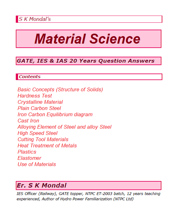 S K Mondal's Material Science GATE, IES & IAS 20 Years
