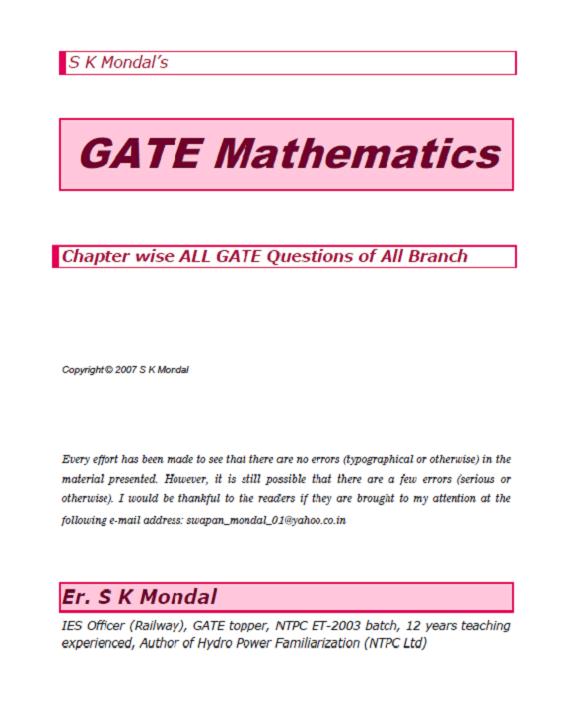 S K Mondal's GATE Mathematics GATE, IES & IAS 20 Years