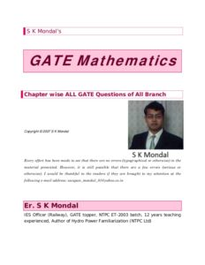 GATE Mathematics [PDF] By S K Mondal's 20 Years Question Answers Topics Wise (Complete Solution With Tips/Hints/Basic Concepts) Book PDF Free Download