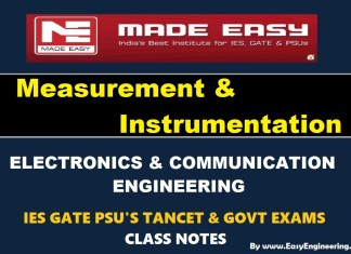 Measurement & Instrumentation EasyEngineering Team IES GATE PSU's TANCET & GOVT Exams Study Material For Electronics Communication Engineering – PDF Free Download