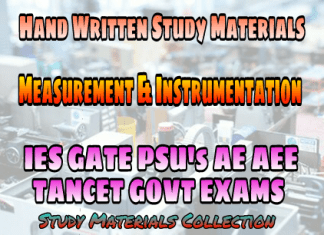 Measurements & Instrumentation Handwritten IES GATE PSU's TANCET & GOVT Exams Study Material For Electrical Engineering & Electronics Communication Engineering – PDF Free Download