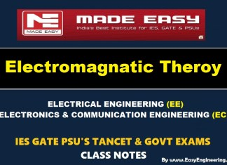ELECTROMAGNETIC THEORY Handwritten EasyEngineering Team IES GATE PSU's TNPSC TRB TANCET SSC JE AE AEE & GOVT EXAMS Study Materials