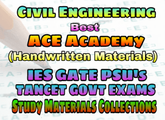 ACE Engineering Academy Civil Engineering IES GATE PSU's TNPSC TANCET & GOVT EXAMS Study Materials