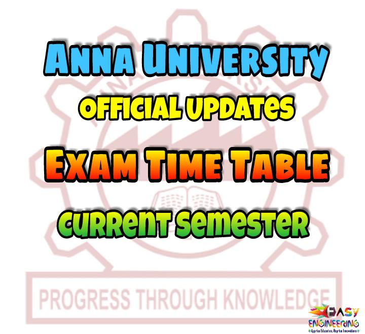 Anna University Exam Timetable 2015 Pdf