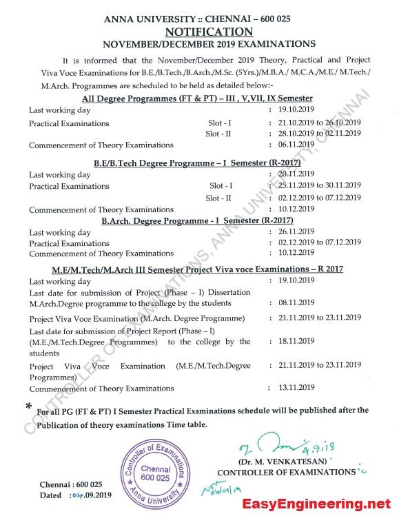 PDF] Anna University Exams Time Table for Nov Dec 2019 UG/PG