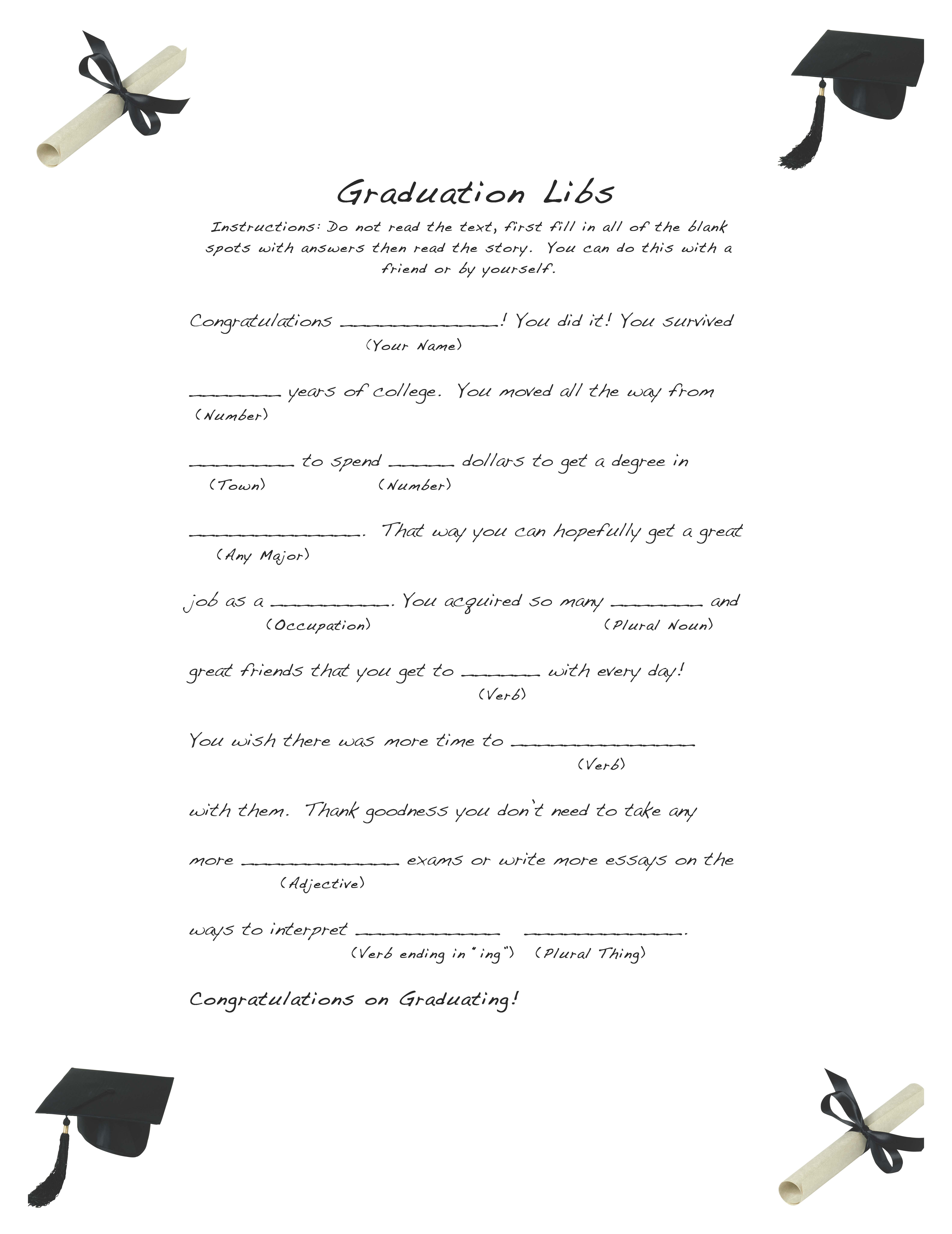 Free And Easy Graduation Libs Easy Event Ideas
