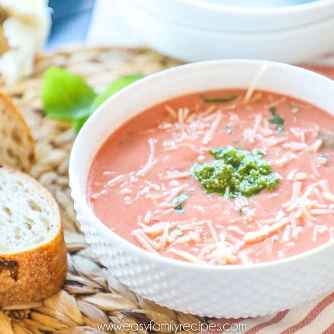 Creamy Slow Cooker Tomato Soup On placemat in bowl