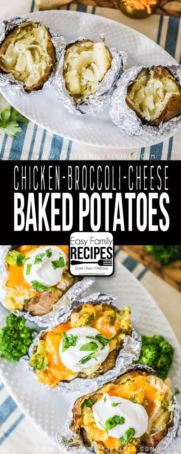 Chicken Broccoli Cheddar Baked Potatoes