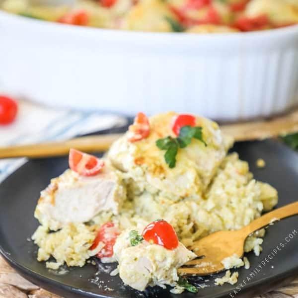Pesto Chicken Casserole served