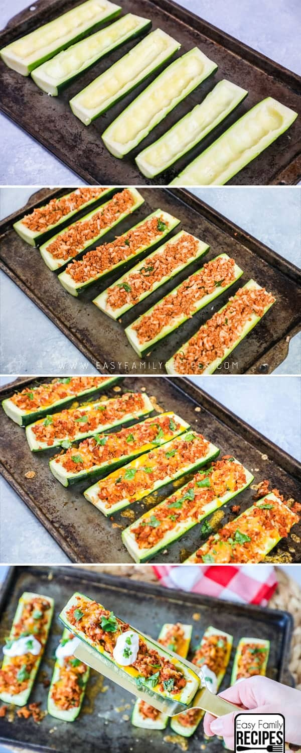 Favorite Low Carb Dinner- How to Make Taco Zucchini Boats