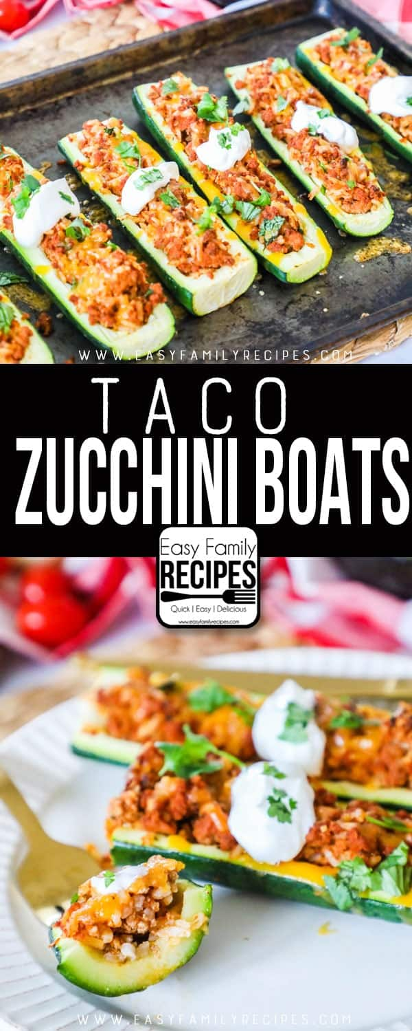 The BEST Taco Zucchini Boat