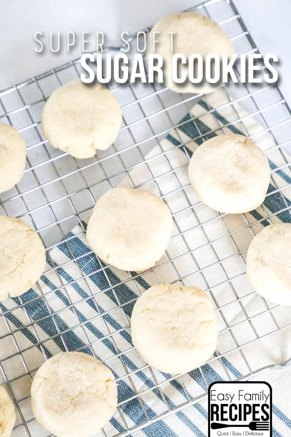 Soft Chewy Sugar Cookies on cooling rack