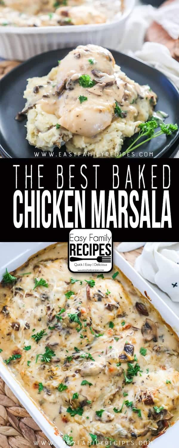 The BEST Baked Chicken Marsala is perfect for a weeknight meal.