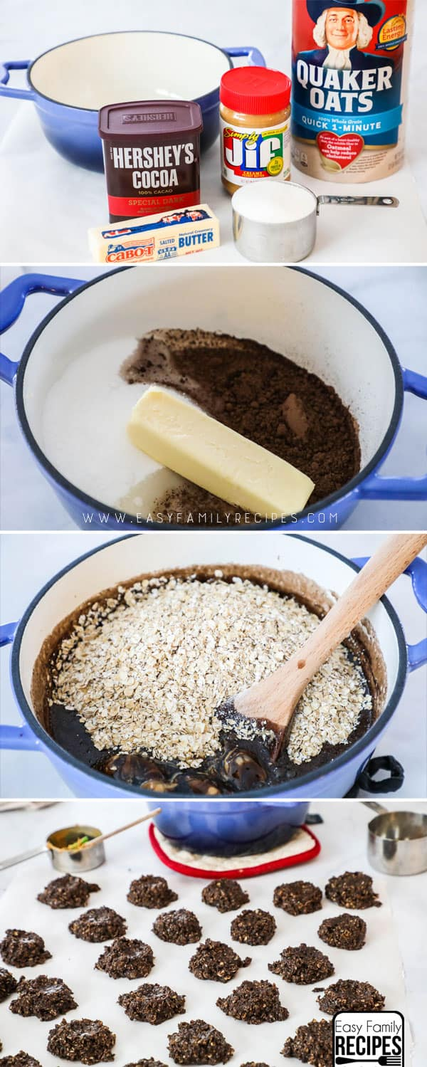 How to Make No Bake Cookies - Step 1: Gather ingredients, cocoa, sugar, butter, peanut butter milk and oatmeal. Step 2: Boil the milk, butter, sugar and cocoa. Step 3: Mix in peanut butter, oatmeal and vanilla. Step 4: Drop by tablespoonfuls to cool.