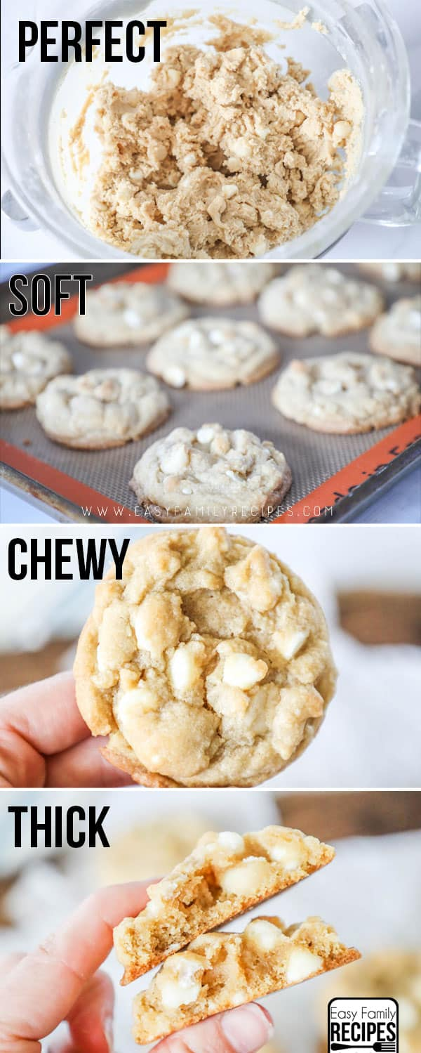 How to make White Chocolate Macadamia Nut Cookies - Step 1 make the dough. Step 2: place it on the cookie sheet. Step 3: Bake Step 4 Cool